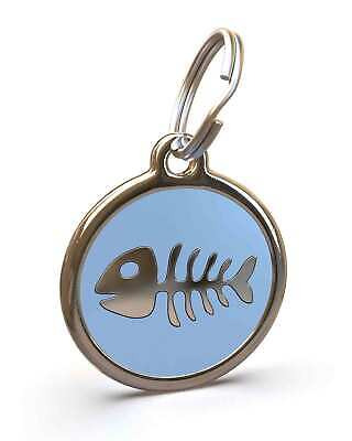 Pet Dog Cat ID Engraved Name Tag Personalised Stainless Steel L Blue Fishbone