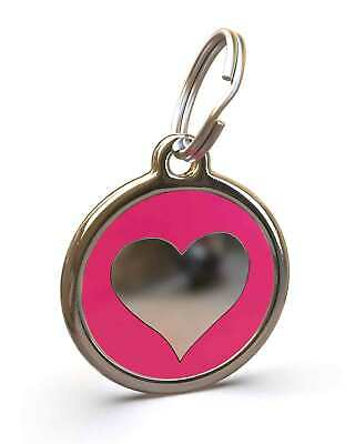 Pet Dog Cat ID Engraved Name Tag Personalised Stainless Steel H Pink Heart Love