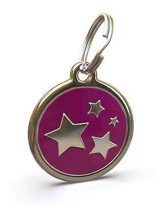 Pet Dog Cat ID Engraved Name Tag Personalised Stainless Steel Purple Stars