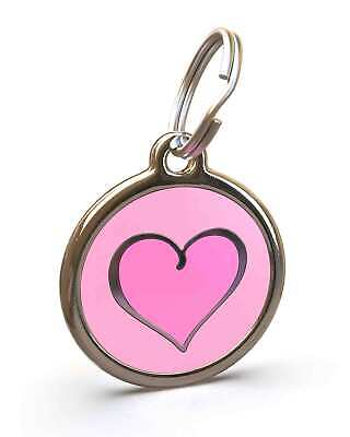 Pet Dog Cat ID Engraved Name Tag Personalised Stainless Steel Pink Hot Heart