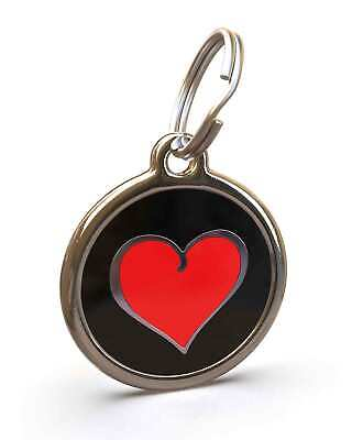 Pet Dog Cat ID Engraved Name Tag Personalised Stainless Steel Red Black Heart