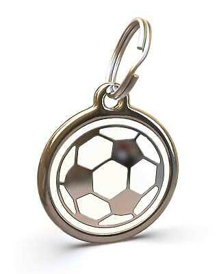 Pet Dog Cat ID Engraved Name Tag Personalised Stainless Steel Soccer Football