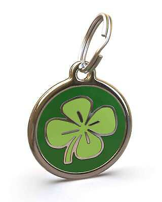 Pet Dog Cat ID Engraved Name Tag Personalised Stainless Steel Irish Green Clover