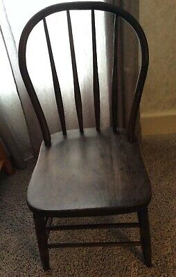 Antique Primitive Tiger Striped  Wood Dining Chair Barn Decor