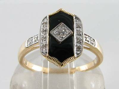 Lovely 9K 9Ct Gold Onyx Diamond Art Deco Ins Ring Free Resize.