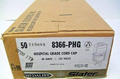 (Box of 50) Slater 8366-PHG HOSPITAL GRADE 20 Amp 125 Volt Male Cord Cap White