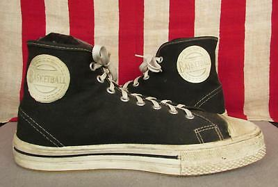 Vintage 1950s Black Canvas Basketball Sneakers High Top Athletic Shoes 9.5 Nice