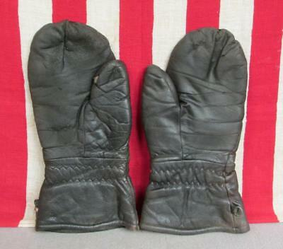 Vintage 1950s Cowhide Leather Motorcycle Riding Gloves Gauntlet Sz.M Mitten Type