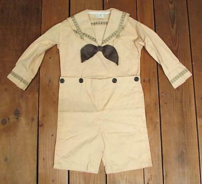 Vintage 1930s Childrens Antique Sailor Type Formal Outfit Top/Shorts NOS Age 7