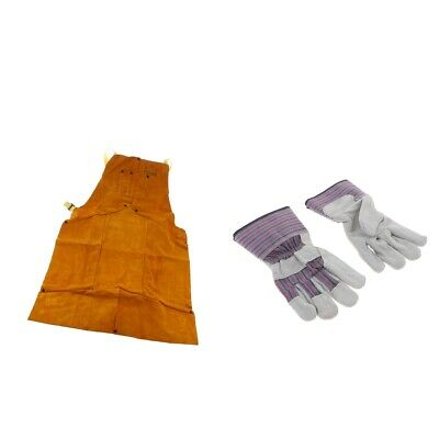 1PCS Protective Welders Apron + One Pair Welding Work Cowhide Leather Gloves