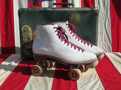 Vintage Chicago Hyde White Leather Rollerskates Skate Case Travel Stickers Nice