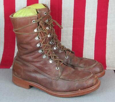 Vintage 1960s Greb Kodiak Brown Leather Work Boots Moc Toe Sz 11.5 Canada Nice
