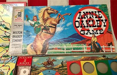 Vintage 1950 Annie Oakley Board Game Western Milton Bradley Co.Complete with Box