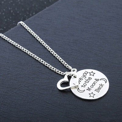 I Love You To The Moon And Back Family Pendant Heart Women's Necklace LH