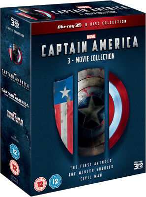 Captain America 1-3 Cofanetto 3d Blu-Ray + Marvel Art Figurine Regione B