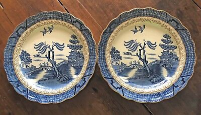 Booths Real Old Willow: 2 Large plates (11-3/4 inch), scalloped edge, gold trim