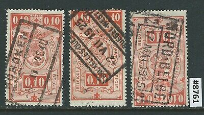 #8761 BELGIUM Sc#140 Lot of 3 Used Railway Stamps 1923 Combine Shipping