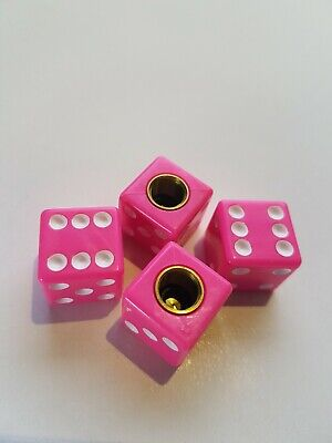 Pink Dice Car Bike Motorcycle Van BMX Wheel Tyre Valve Dust Caps x 4 pce