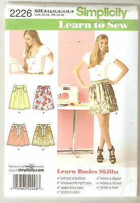 Simplicity Sewing Pattern 2226 Miss Learn To Sew Skirts Sz 6-18