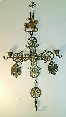 Antique Bronze Byzantine Cross Candle Holders Double headed eagle Constantine