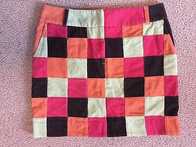 25d6e46ef Vineyard Vines Patchwork Pink Green Brown Corduroy Preppy Mini Skirt Sz 10