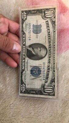 1934 SERIES $10 Silver Certificate,Large Blue Seal, old money Great An Clean
