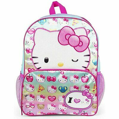 e0f374992 Hello Kitty School Backpack Book bag Little Girls Pink Bow Sanrio Kids 14