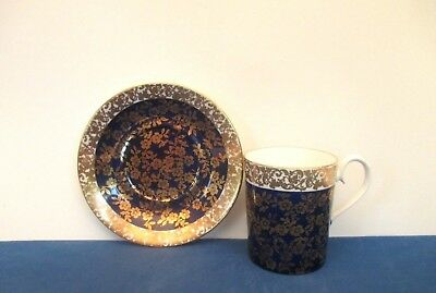 "Royal Albert Cobalt ""Floral Chintz"" Demitasse Cup and Saucer, England"