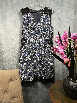 9eafc50d0017e $448 NWT ELIE TAHARI Sz12 WREN CROCHET TRIM V-NECK SLEEVELESS DRESS BLUE  OZONE