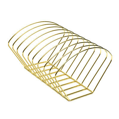 Elegant Metal Wire Book Rack Stand, Desktop Bookshelf Book Holder - Gold