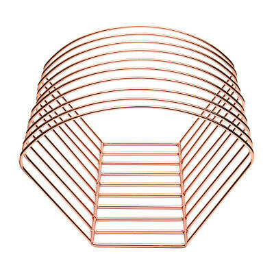 Elegant Metal Wire Book Rack Stand, Desktop Bookshelf Book Holder, Rose Gold