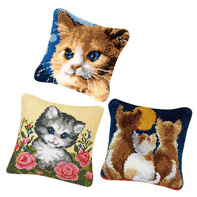3pcs DIY Latch Hook Kits for Beginners Pillow Cover Case Animal Cushion Cats