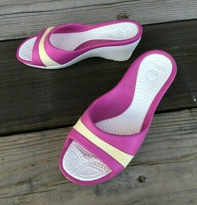 961e8942d   CROCS Sassari Wedge Heel Slides Size 9 Pink Cream   White!!