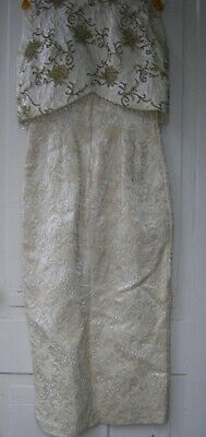 Vintage 1960's  Evening Gown  Madman style  Ecru Beaded   Small floor length