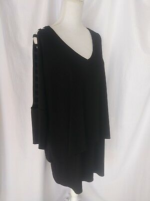 d6180ddf0bedf Joseph Ribkoff Womens Plus Size 18 Dress Black Cut Out Sleeves Layered Look