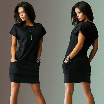 Women Solid Color Short Sleeve Round Neck With Pocket Casual Short Club Dress LH
