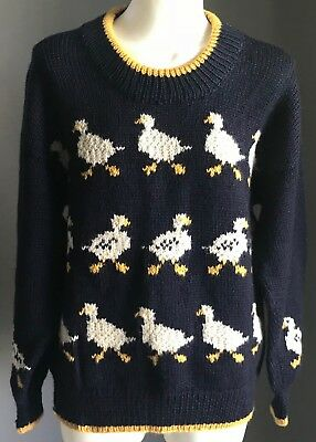 Vintage Handmade Chunky Knit Jumper w White & Yellow Duck Motif Size 10-12