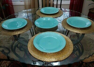 """Set of 5 Turquoise Fiestaware Dinner Plates 10 1/2"""" Homer Laughlin. Made in USA"""