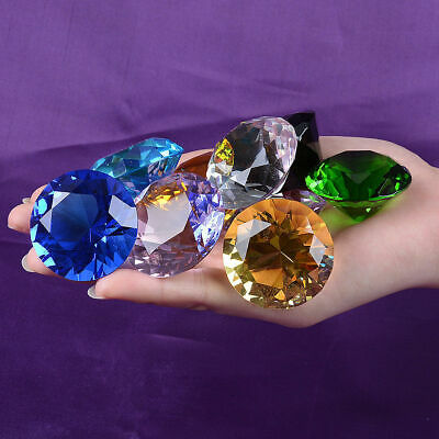 8 Colors Glass Crystal Diamond Shape Paperweights Facet Jewel Wedding Gift 20mm