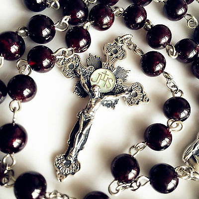 Garnet Gemstone Bead Sterling Silver ROSARY CROSS crucifix catholic necklace BOX