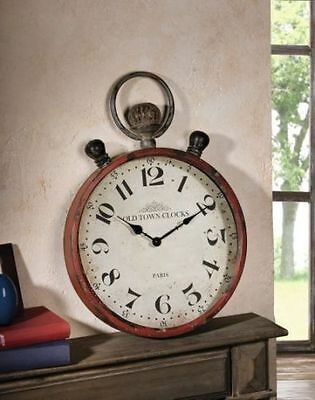 Wall Clock Pocket Watch XXL Old Town Metal Shabby Chic Nostalgig