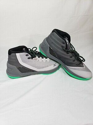 f7d3e7bb830b NR Under Armour Mens Size 11 Curry 3 Basketball Sneakers Green Grey 1269279  289