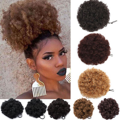 Afro Bun Ponytail As Human Kinky Curly Puff Clip in Drawstring Hair Extension US