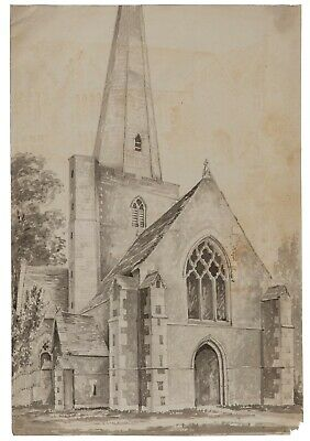 An Antique British School 18th/19th Century Church Architectural Watercolor Pain