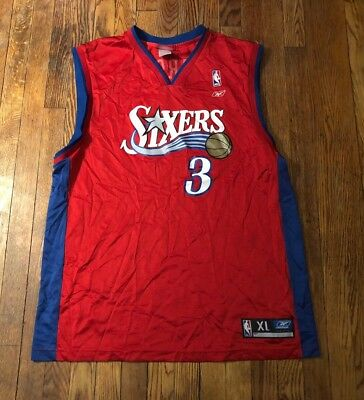 c7148e909 Vintage Allen Iverson Philadelphia 76ers Men s XL Red NBA Basketball Jersey