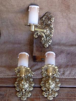 40s 50s VINTAGE CHIC 3 Ornate Solid CAST BRASS Wall Sconce Candle LIGHT FITTING
