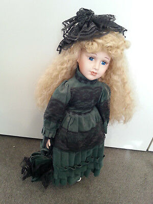 Vintage Doll in green velvet with black lace and parasol