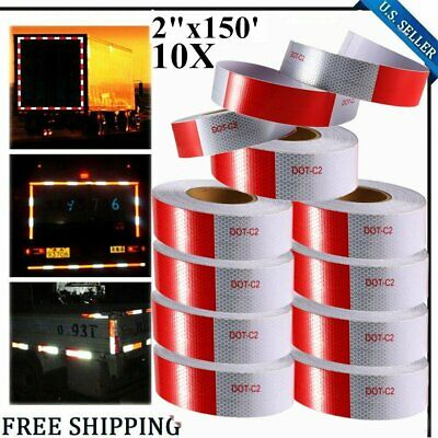 """10PACK 2""""x150' Red+White Reflective Conspicuity Car Safe Tape Approved DOT-C2 MY"""