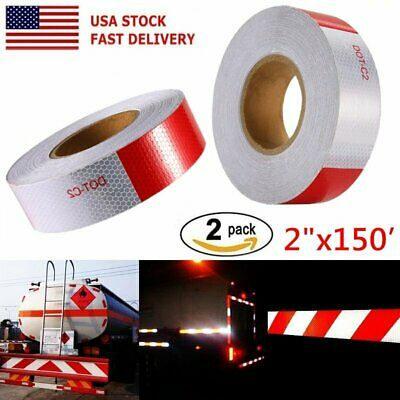 """2X Conspicuity Tape DOT-C2 Approved Reflective Trailer Red White 2""""x150' 1Roll B"""