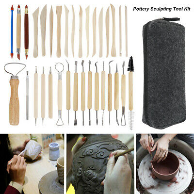 33pcs Polymer Clay Sculpting Tool Set Wood Models Art Projects Pottery Tool Sets